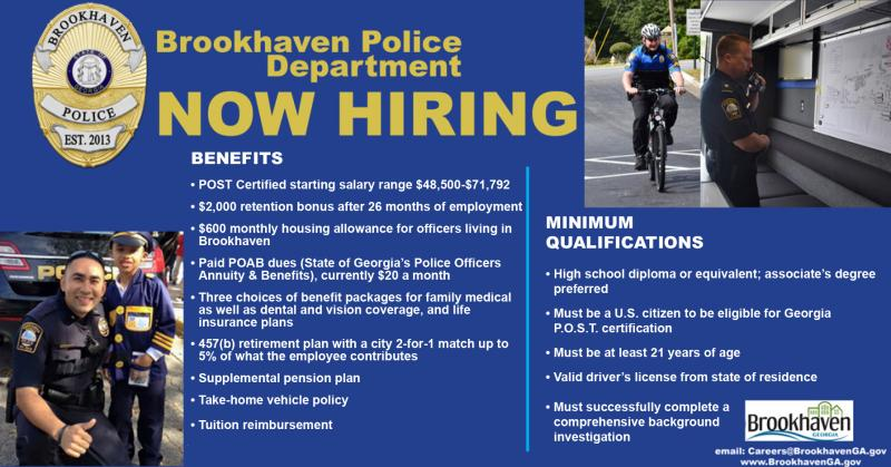 Police Department Job Openings | Brookhaven Georgia